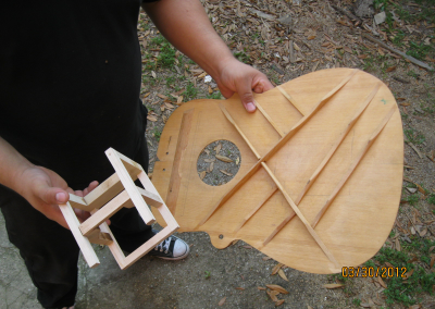 Spruce Sound Board with Bracing and  the First P.H.A.T. System
